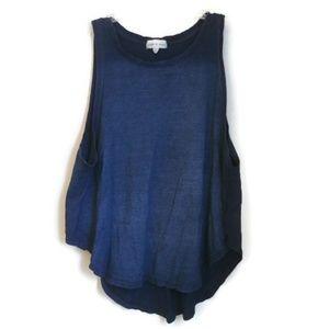 CLOTH & STONE NAVY BLUE LOW HIGH HEM SLEEVE TANK